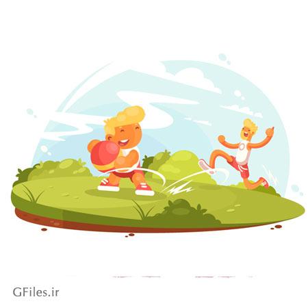 وکتور گرافیکی و لایه باز بازی پدر و پسر در پارک (پس زمینه کارتونی)