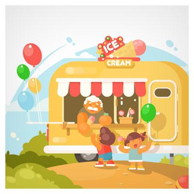 وکتور کارتونی پس زمینه بچه ها در حال خرید بستنی از کانکس بستنی فروشی
