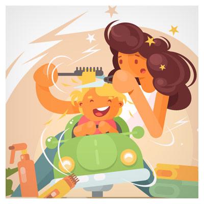 فایل وکتور کارتونی پس زمینه مادر در حال کوتاه کردن موی سر نوزاد