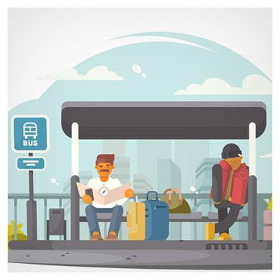 فایل وکتور لایه باز پس زمینه با طرح مسافران در ایستگاه اتوبوس