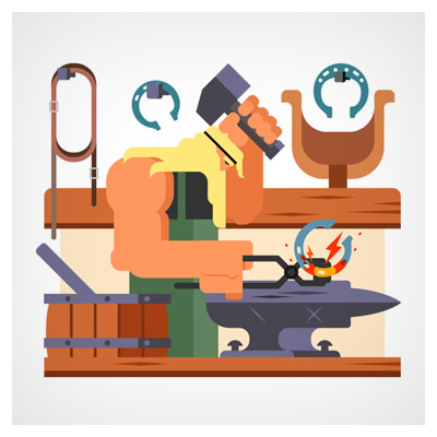 وکتور کارتونی با طرح آهنگر در حال چکش کاری نعل اسب