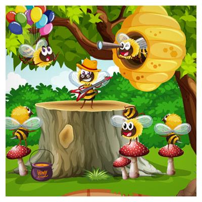 پس زمینه کارتونی جنگل و زنبورهای عسل بصورت گرافیکی لایه باز