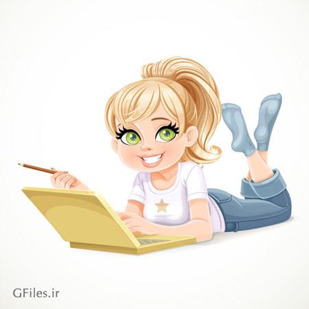 وکتور کارتونی دختر جوان در حال کار با لپ تاپ (وکتور لایه باز eps و ai)