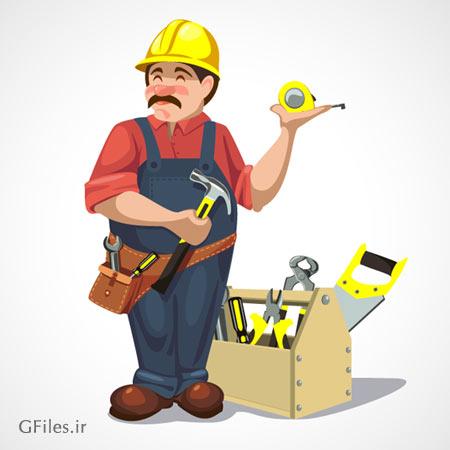 وکتور کاراکتر کارتونی مرد تعمیرکار در کنار جعبه ابزار