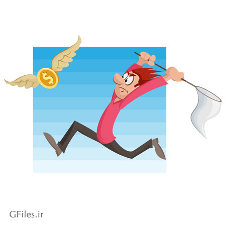 وکتور مفهومی کاراکتر کارتونی مرد در حال شکار دلار