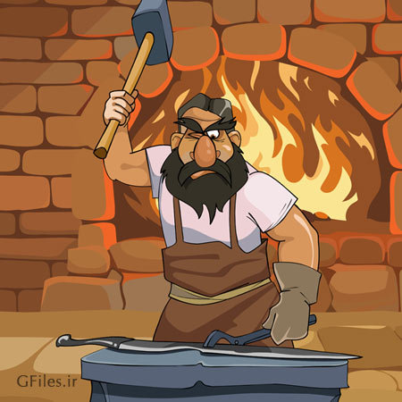 دانلود شخصیت کارتونی لایه باز مرد آهنگر در حال چکش کاری شمشیر