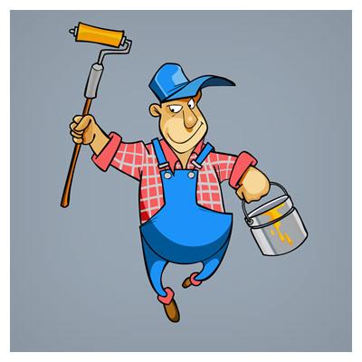 دانلود فایل کارتونی کاراکتر مرد نقاش همراه با سطل و فرچه رنگ