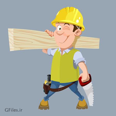 کاراکتر کارتونی مرد نجار همراه با الوار و اره آهنی (eps و ai)