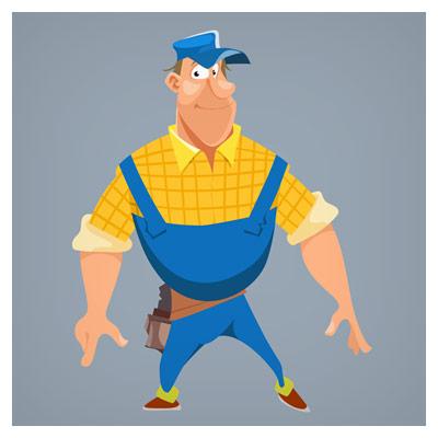 طرح کارتونی شخصیت کارتونی مرد تعمیرکار بصورت لایه باز وکتوری