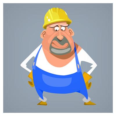 شخصیت کارتونی و کاراکتر معمار و کارگر ساختمان بصورت لایه باز وکتوری