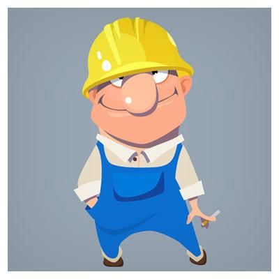 طرح کارتونی شخصیت کارتونی کارگر ساختمان بصورت لایه باز (eps و ai)