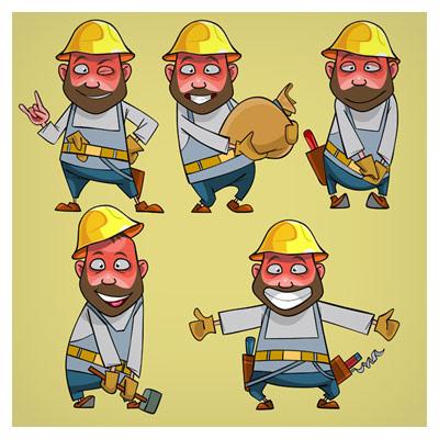 فایل وکتور (eps و ai) لایه باز مجموعه متنوع شخصیت کارتونی کارگر ساختمان و مهندس