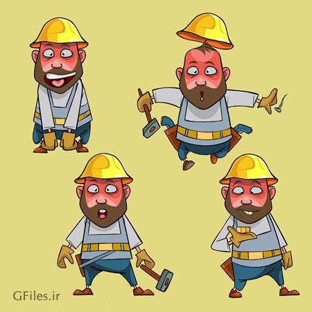 دانلود فایل لایه باز وکتوری مجموعه شخصیت های کارتونی کارگر و مهندس ساختمان