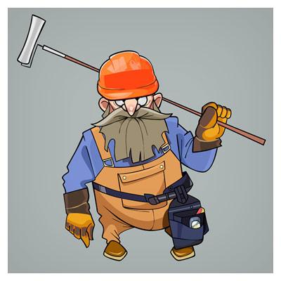 کاراکتر کارتونی لایه باز (شخصیت کارتونی) نقاش ساختمان