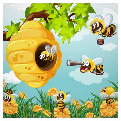 فایل لایه باز پس زمینه گرافیکی زنبورهای کارگر و کندوی عسل