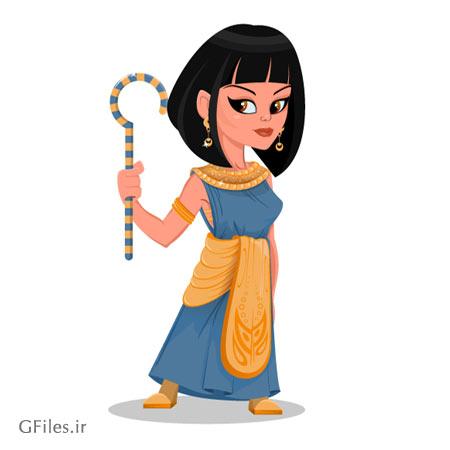 وکتور شخصیت کارتونی زن مصری (خدمتکار دربار مصر) بصورت لایه باز
