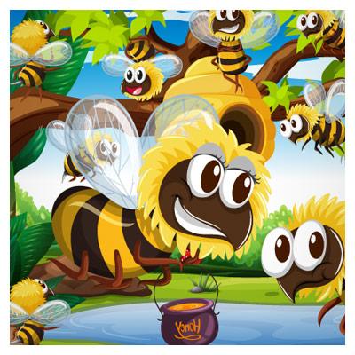 دانلود وکتور پس زمینه (بکگراند) زنبورهای عسل بصورت لایه باز