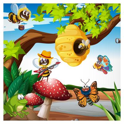 دانلود وکتور لایه باز پس زمینه و بکگراند گرافیکی با طرح زنبورهای عسل