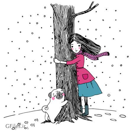 وکتور کارتونی خطی (طراحی با دست) دختر ، درخت و سگ