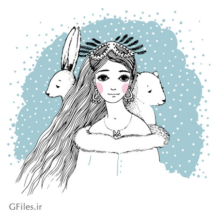 وکتور لایه باز طرح کارتونی و خطی (نقاشی شده با دست) دختر زمستانی