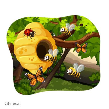 فایل گرافیکی و وکتوری پس زمینه با طرح زنبورهای عسل
