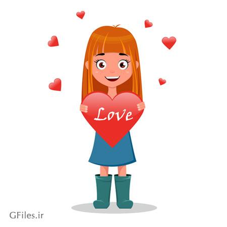 دانلود کاراکتر کارتونی دختر عاشق بصورت گرافیکی و لایه باز