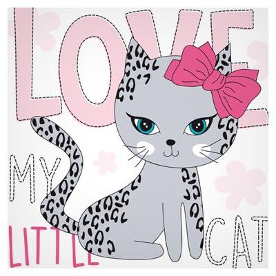 طرح پس زمینه وکتوری و کارتونی گربه عاشق (Love My Little Cat)