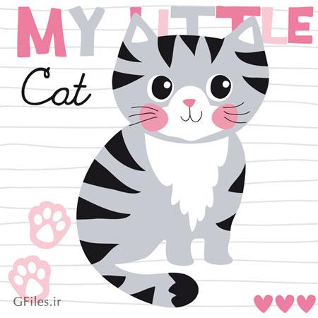 طرح وکتور پس زمینه و بکگراند کارتونی My Little Cat (گربه کوچک)