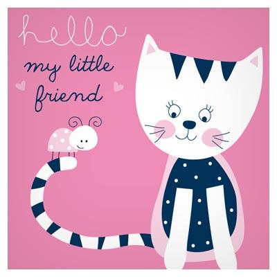 طرح کارتونی نقاشی شده وکتور پس زمینه گربه و کفشدوزک (Hello My Little Friend)