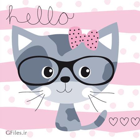 وکتور لایه باز بکگراند با طرح کارتونی Hello Kitty (ارائه شده با دو پسوند ai و eps)