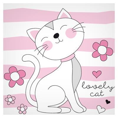 طرح وکتوری پس زمینه کارتونی با طرح گربه عاشق (Lovely Cat)