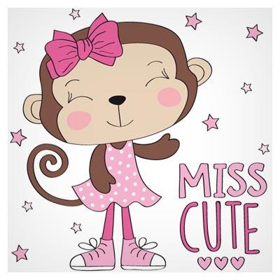 طرح لایه باز کارتونی میمون کوچولو (Miss Cute) با فرمت های وکتوری eps و ai