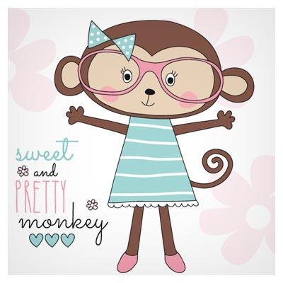 دانلود وکتور لایه باز کارتونی بچه میمون با دو پسوند eps و ai