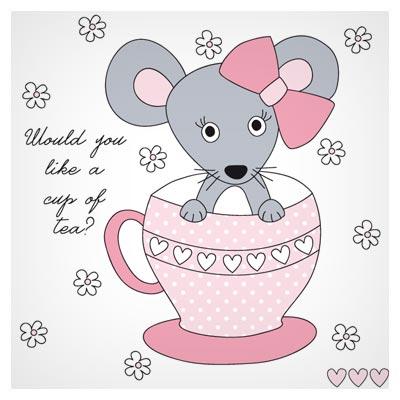 فایل وکتوری لایه باز کارتونی موش کوچولوی خاکستری در فنجان (eps و ai)