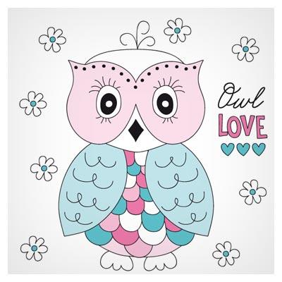 فایل وکتوری و کارتونی با طرح بچه جغد (Owl Love)
