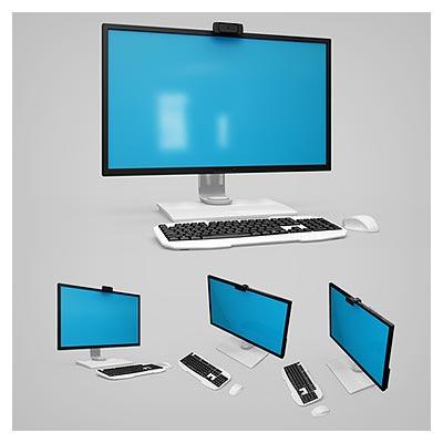 موکاپ (پیش نمایش) 4 حالت مختلف از مانیتور و صفحه نمایش