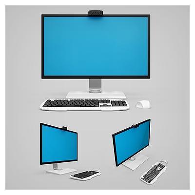 موکاپ مجموعه 3 حالت متنوع از پیش نمایش صفحه نمایش یا مانیتور