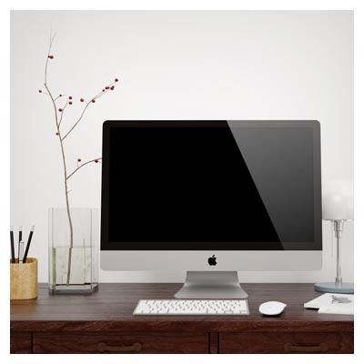 موکاپ لایه باز مانیتور اپل (با امکان نمایش طرح شما بصورت سه بعدی روی صفحه نمایش)
