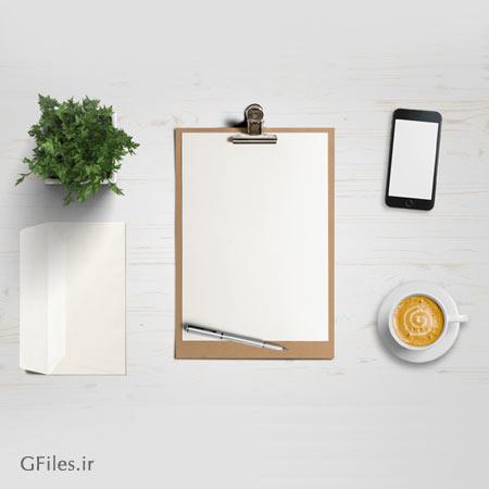 فایل موکاپ لایه باز نمایش کاغذ A4 ، گوشی و پاکت نامه