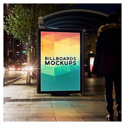 موکاپ بیلبورد تبلیغاتی در ایستگاه اتوبوس (لایه باز psd)