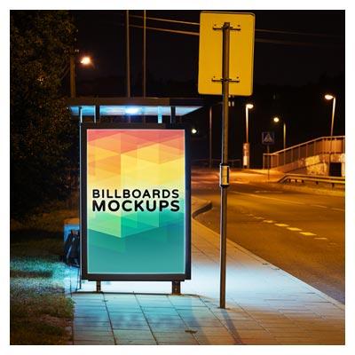 دانلود Mockup یا پیش نمایش طرح بنر شما روی ایستگاه اتوبوس در شب