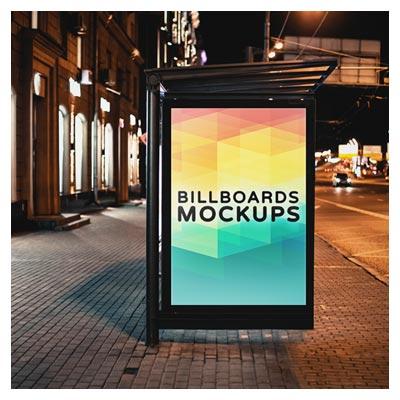 فایل psd موکاپ یا نمایش طرح بنر شما روی ایستگاه اتوبوس در شب