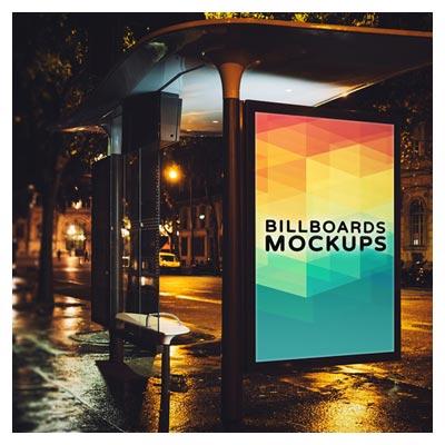موکاپ لایه باز نمایش بنر تبلیغاتی روی ایستگاه اتوبوس با فرمت psd