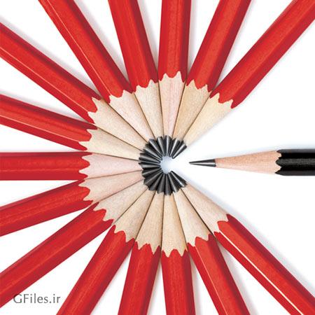 تصویر با کیفیت مدادهای رنگی با چینش خاص با فرمت jpg