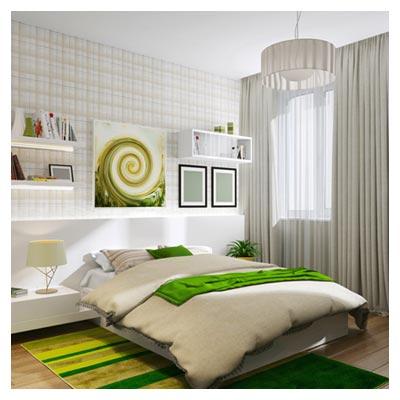 دانلود تصویر شفاف و روشن از یک اطاق خواب سفید رنگ با تخت گرم و نرم دونفره