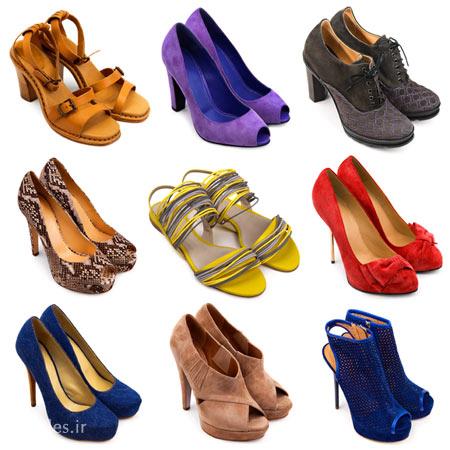 چند جفت کفش نو زنانه پاشنه دار در رنگ های مختلف با فرمت JPG