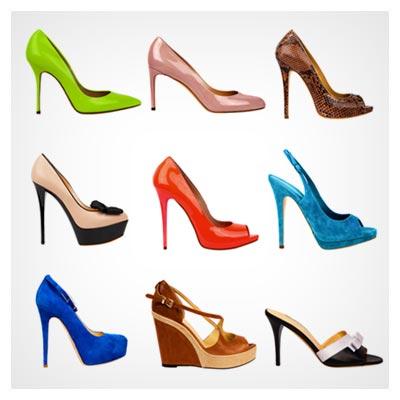 عکس چند جفت کفش مجلسی زنانه و دخترانه رنگارنگ و پاشنه بلند