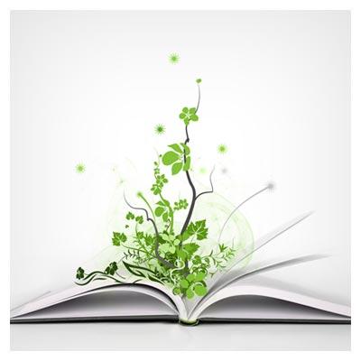 روییدن علم و آگاهی به شکل برگ های سبز از وسط یک کتاب