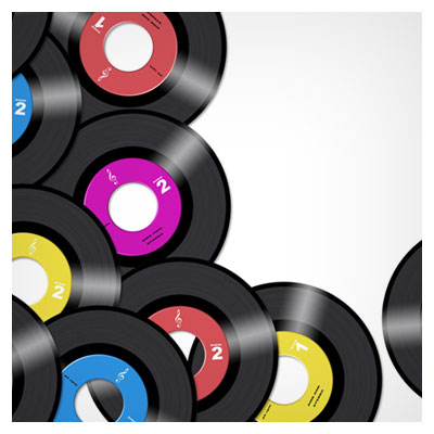دیسک های رنگی مختلف پراکنده شده روی یک زمینه روشن