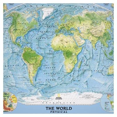 عکس نقشه کامل جهان به رنگ آبی و سبز در یک قاب مستطیلی